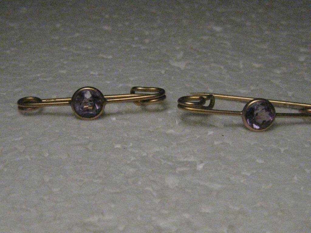 Vintage 14kt Pair Amethyst Scatter Brooches, Signed R,