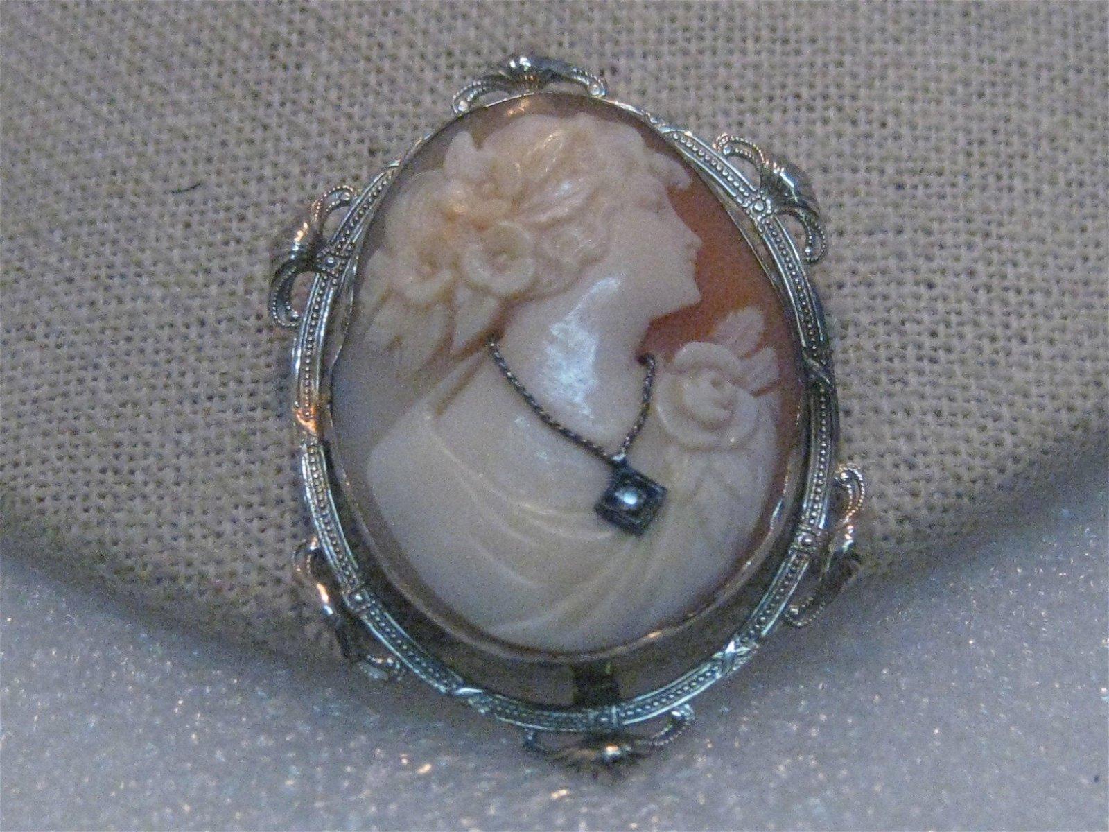 Vintage 14kt Diamond Cameo Brooch, 1920's-1930's Art