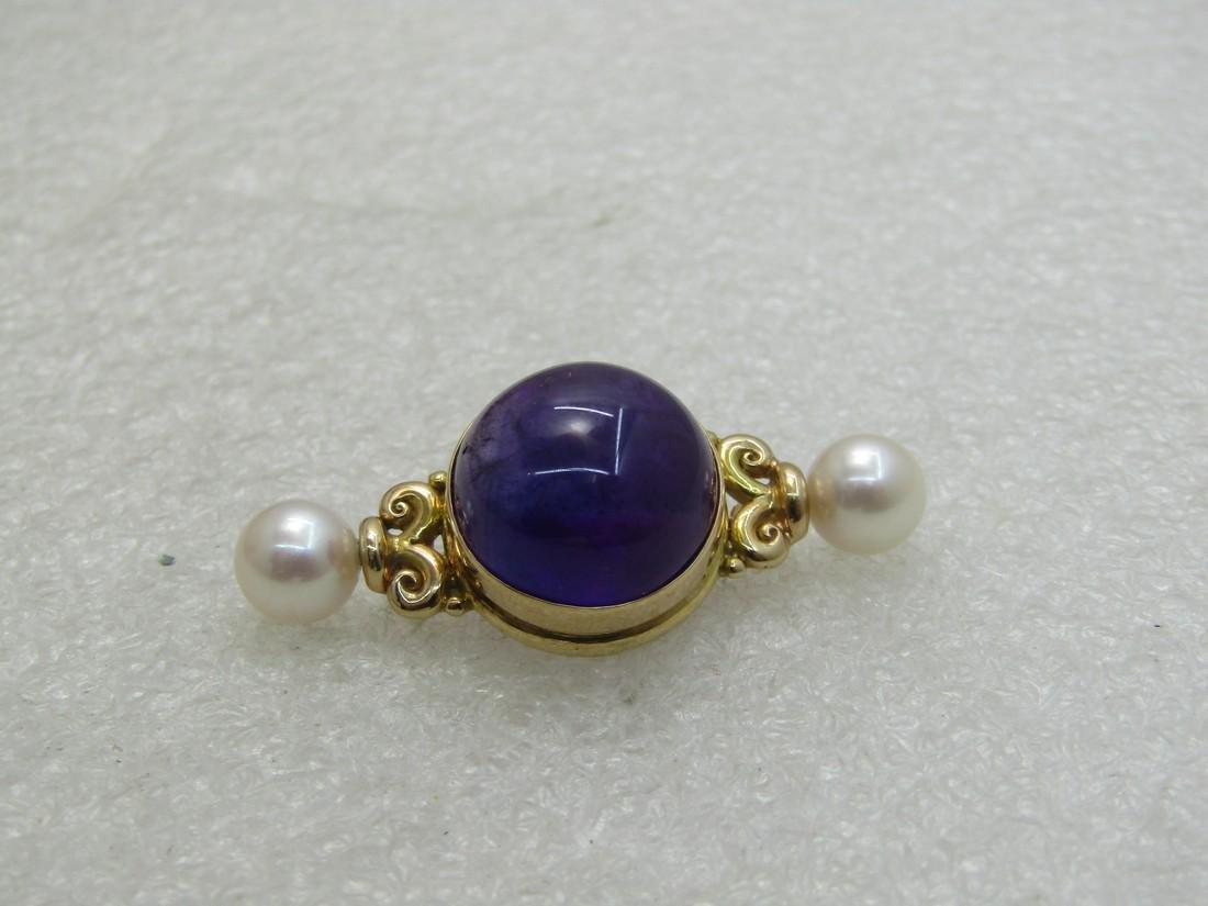 Vintage 18kt Purple Jade & Pearl Victorian Themed