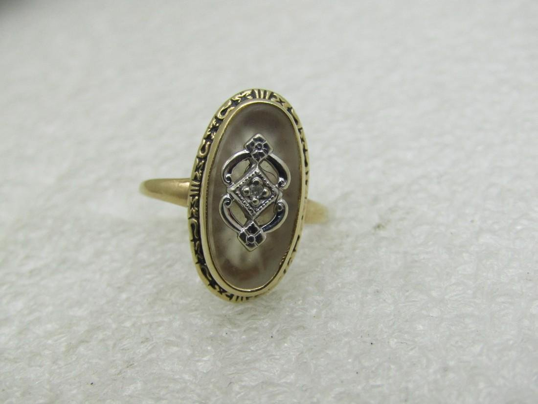 Vintage 14kt Victorian Themed Camphor Glass Ring,
