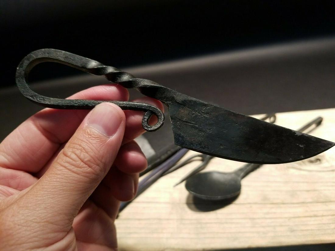 Flint Striker Style Forged Knife Utensil Set