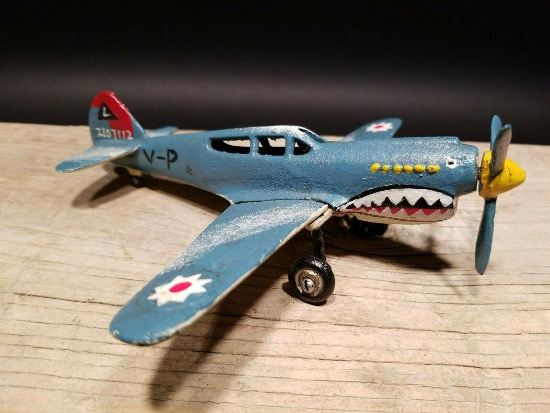 Cast Iron Shark Mouth Airplane Toy