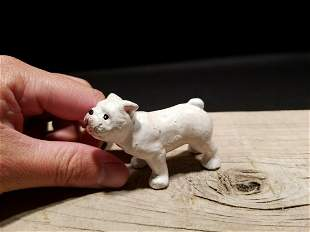 Miniature Cast Iron White English Bulldog Dog