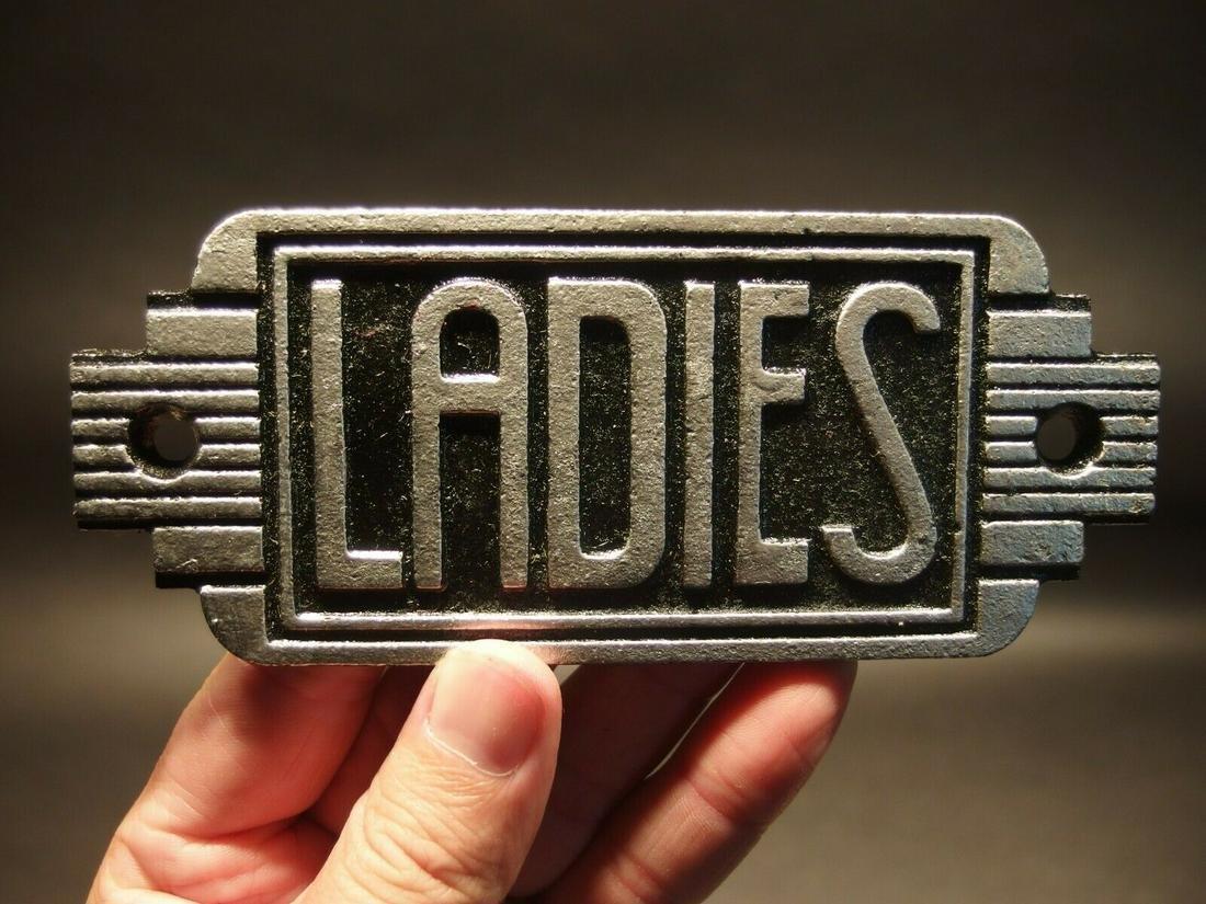 Cast Iron Bathroom Retro Ladies Toilet Sign