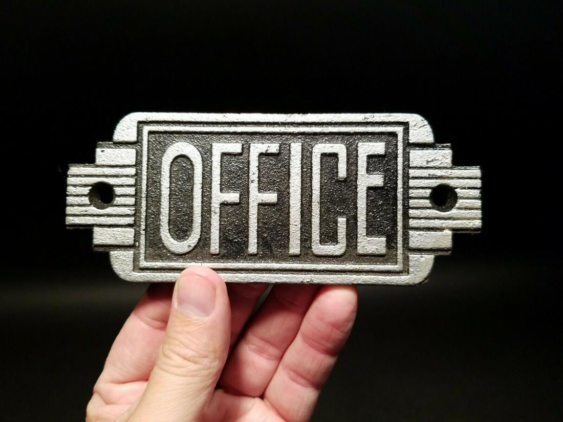 Cast Iron Art Deco Office Door Sign