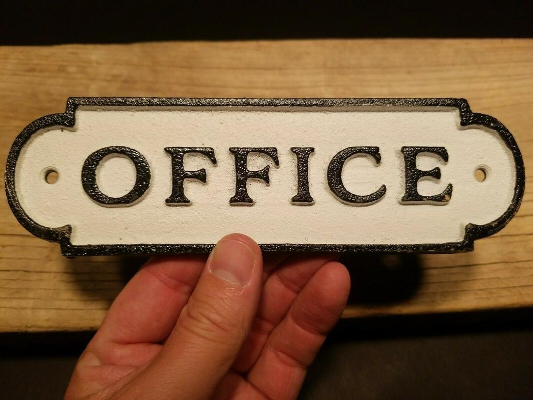 Cast Iron Retro Office Door Sign