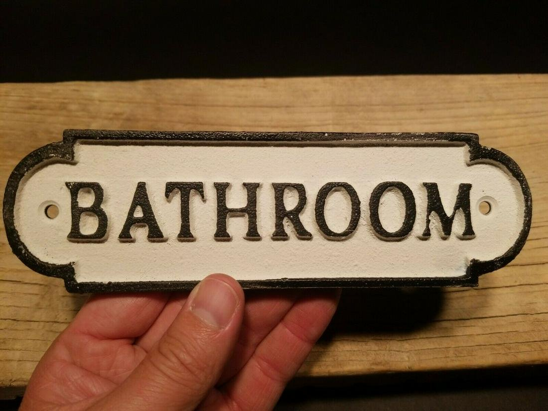 Cast Iron Bathroom Sign