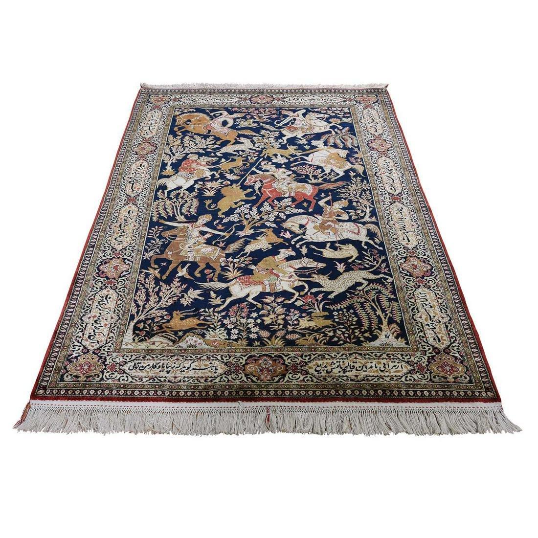 Navy Blue Vintage Persian Silk Qum Hunting Design With