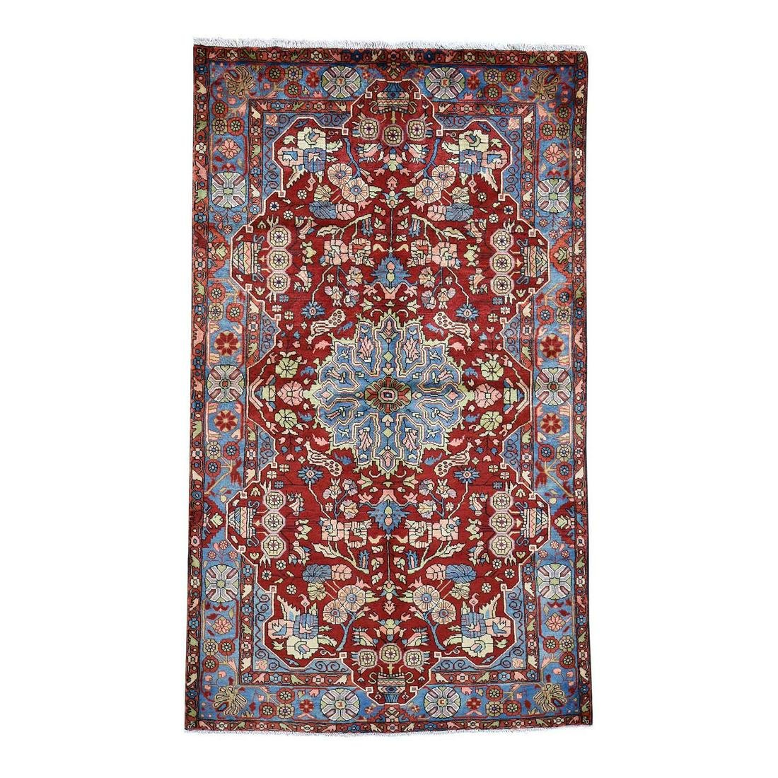 Red New Persian Nahavand Pure Wool Hand-Knotted