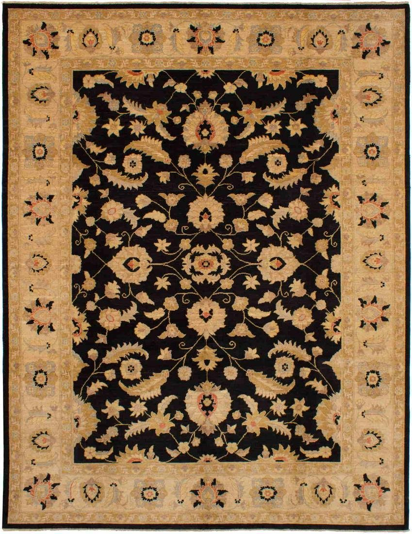 """Hand-knotted Chobi Finest Black Wool Rug 9'1"""" x 11'10"""""""