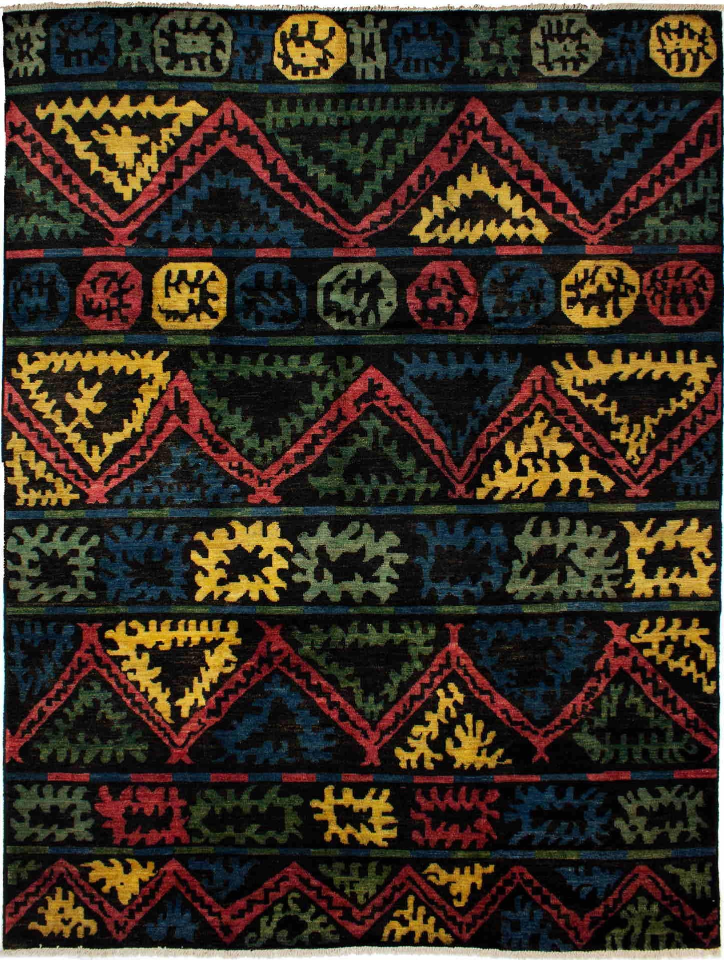 """Hand-knotted Shalimar Black Wool Rug 10'2"""" x 13'7"""""""