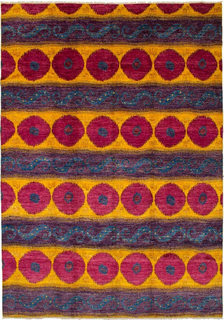 "Hand-knotted Shalimar Red, Yellow Wool Rug 9'10"" x"