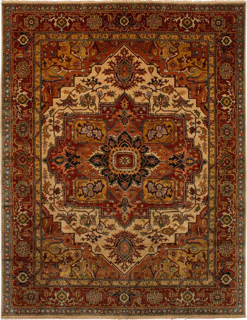 Hand-knotted Jules-Sultane Dark Red, Ivory Wool Rug