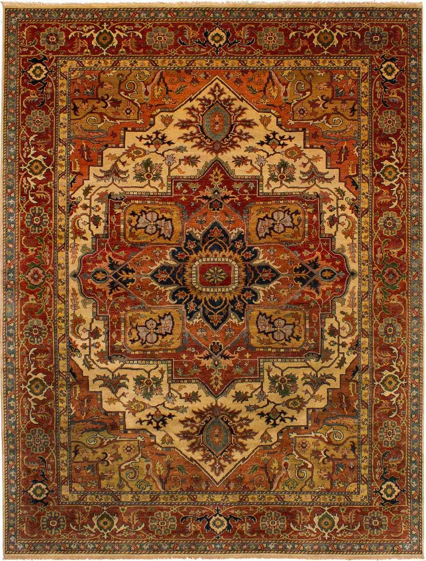 Hand-knotted Jules-Sultane Dark Copper Wool Rug 8