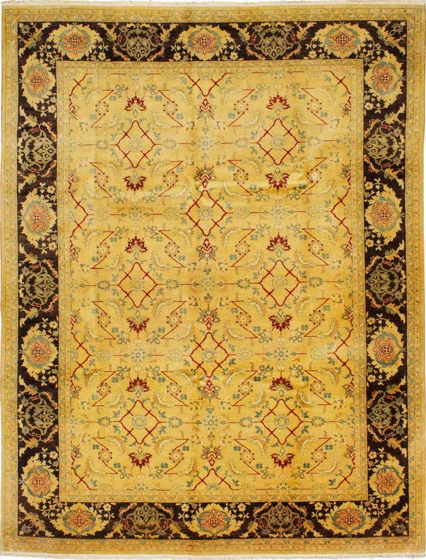 "Hand-knotted Chobi Twisted Light Gold Wool Rug 9'0"" x"