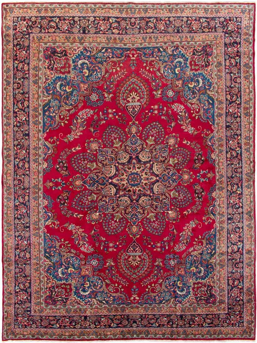 """Hand-knotted Sabzevar Red Wool Rug 9'8"""" x 13'0"""""""