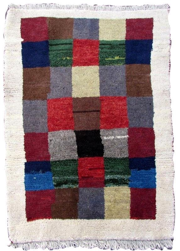 Handmade vintage Persian Gabbeh rug 2.2' x 3' (65cm x