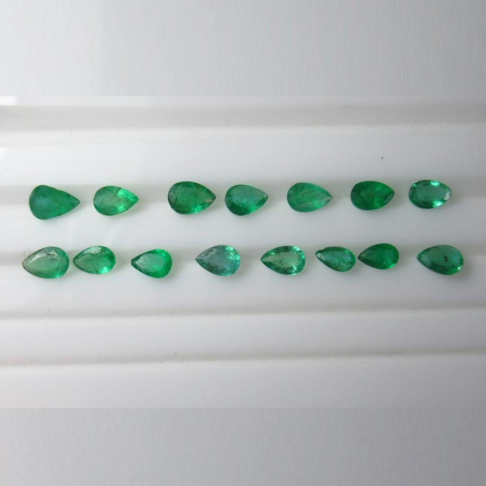 10.29 Ct Natural 29 Zambian Emerald Pear Set