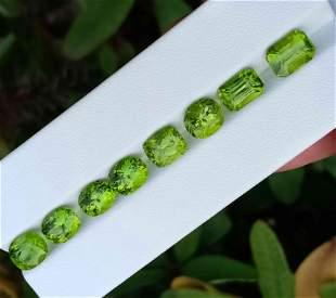 19 Carats Beautiful Green Peridot Gemstone 8 Pieces