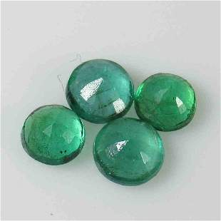 222 Ctw Natural 4 Zambian Emerald Round Set