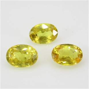321 Ct Natural 3 Ceylon Yellow Sapphire Oval Set