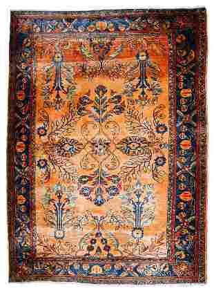 Handmade antique Persian Lilihan rug 5.3' x 7.3' (161cm