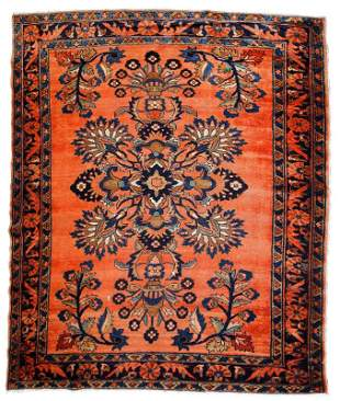 Handmade antique Persian Lilihan rug 5.3' x 7.2' (161cm