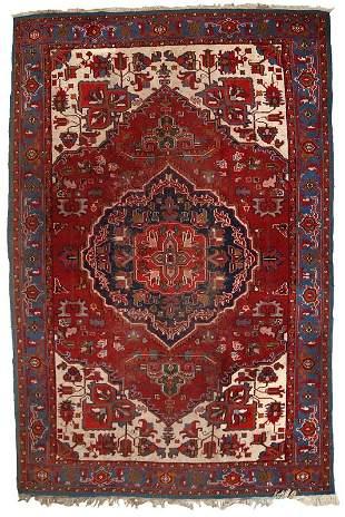 Handmade vintage Persian Heriz rug 6.6' x 9.8' (202cm x
