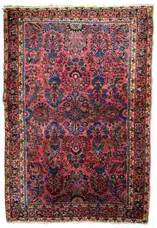 Handmade antique Persian Sarouk rug 3.1' x 5.5' (94cm x