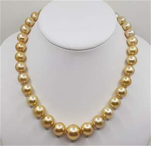 18 kt. Yellow Gold - 10.1x16.6mm Round Golden South Sea
