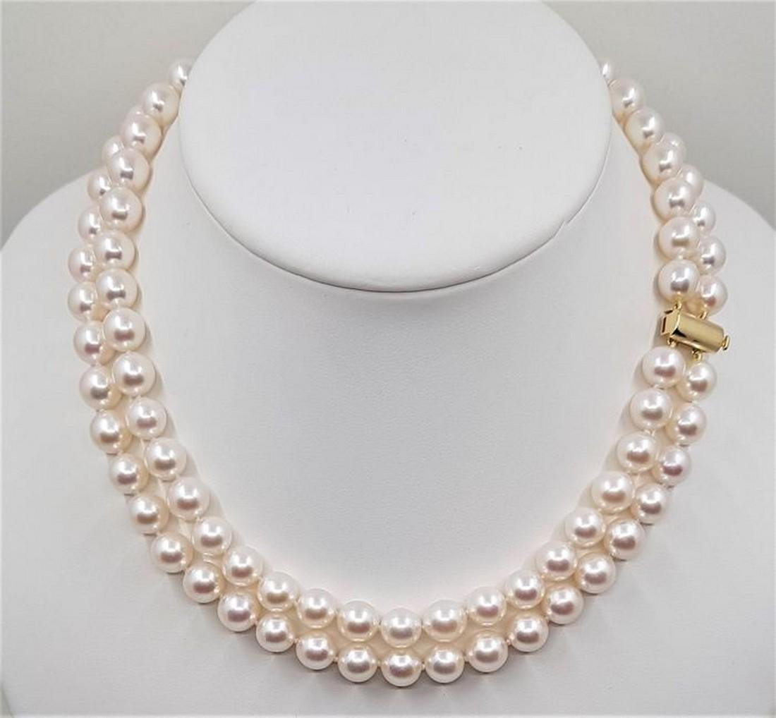 14 kt. Yellow Gold - Top grade 8.5x9mm Akoya Pearls -