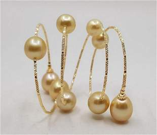 18 kt Yellow gold 11x12mm Golden South Sea Pearls