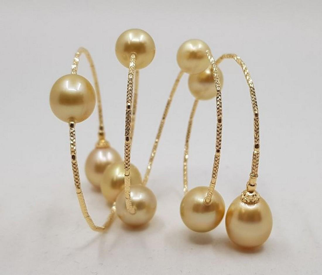 18 kt. Yellow gold - 11x12mm Golden South Sea Pearls -