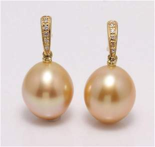 14 kt. Yellow Gold - 10x11mm Golden South Sea Pearls -