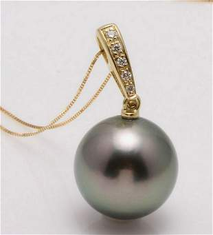 14 kt Yellow Gold 12x13mm Round Tahitian Pearl