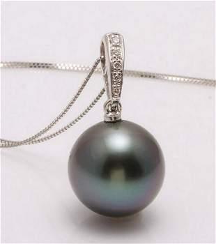 14 kt White Goud 12x13mm Round Tahitian pearl