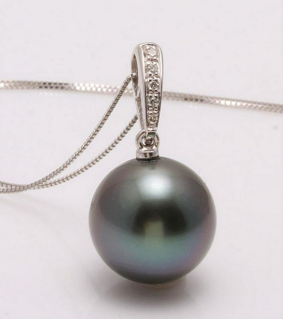 14 kt. White Goud - 12x13mm Round Tahitian pearl -