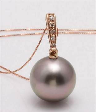 14 kt Rose Gold 12x13mm Round Tahitian Pearl