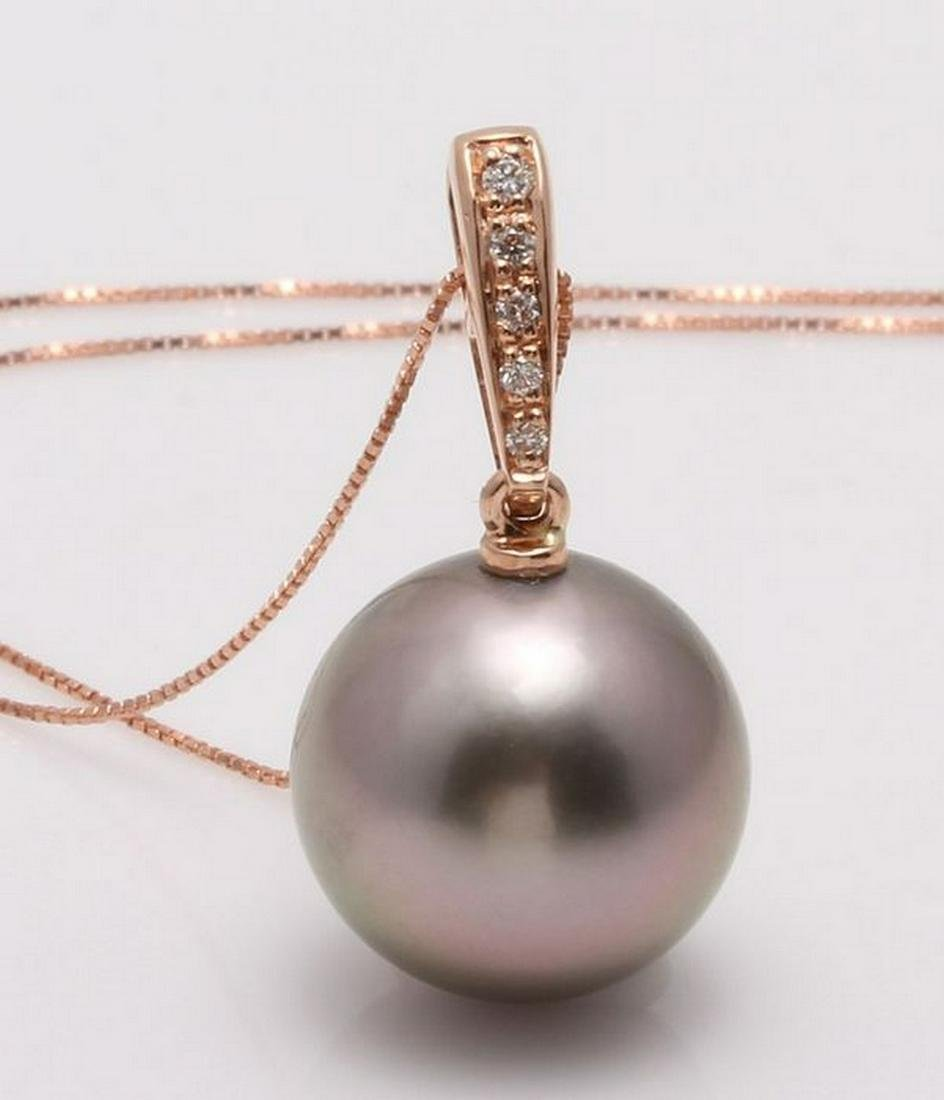 14 kt. Rose Gold - 12x13mm Round Tahitian Pearl -