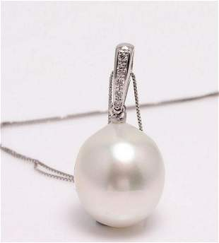 14 kt. White Gold - 11x12mm South Sea Pearl - Necklace