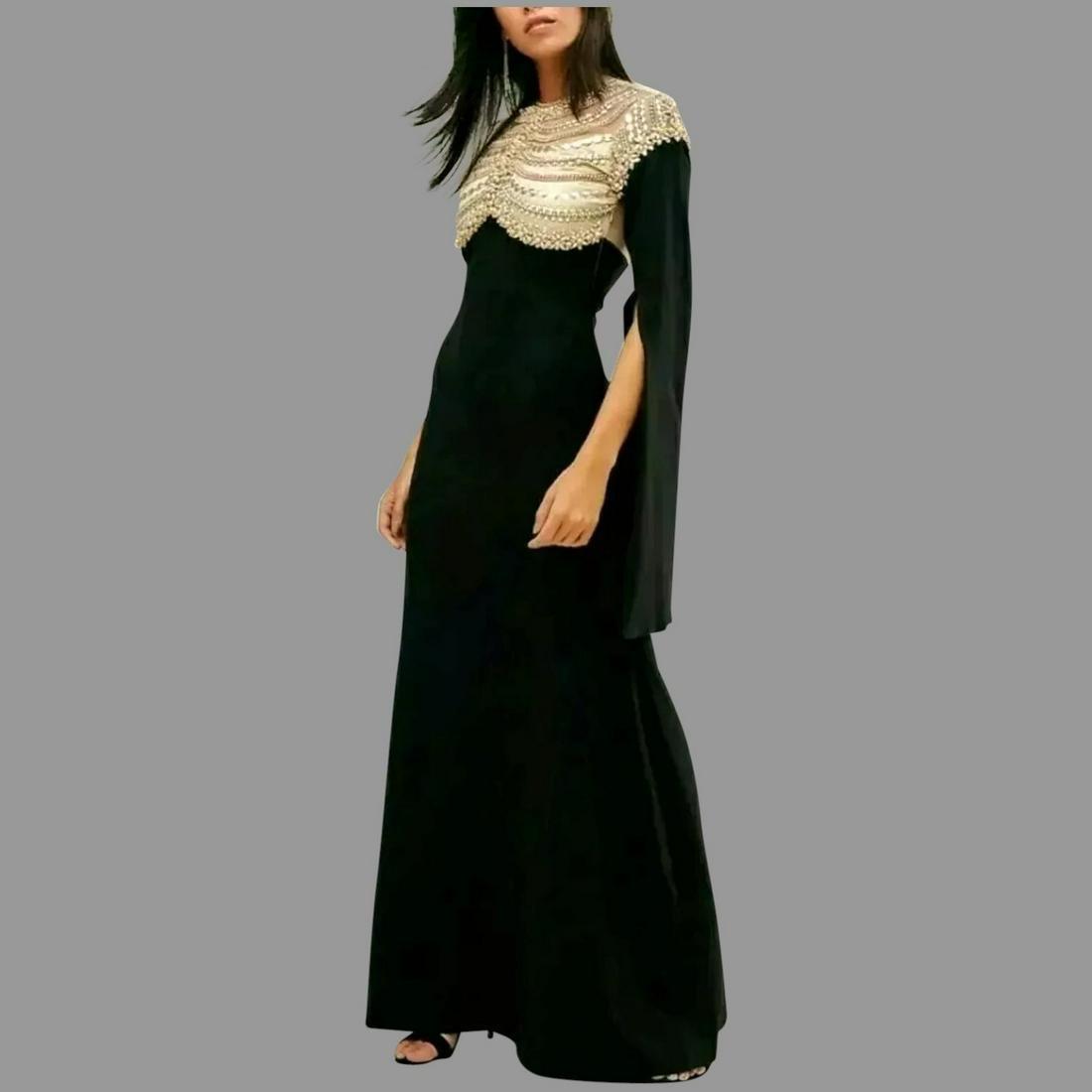 Vtg Embellished Cape sleeve maxi dress illusion plunge