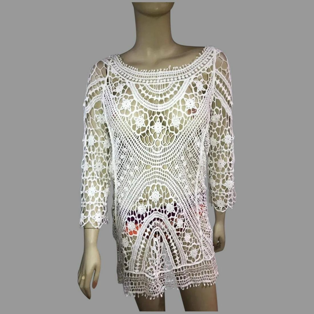 Vtg Crochet lace white cotton cover up dress plunge