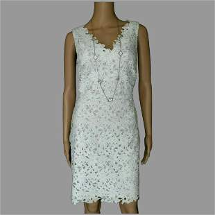 Eyelet Embroidered floral Scallop sheer lined dress