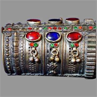 Antique cuff Bracelet decorated with stones Pakistan