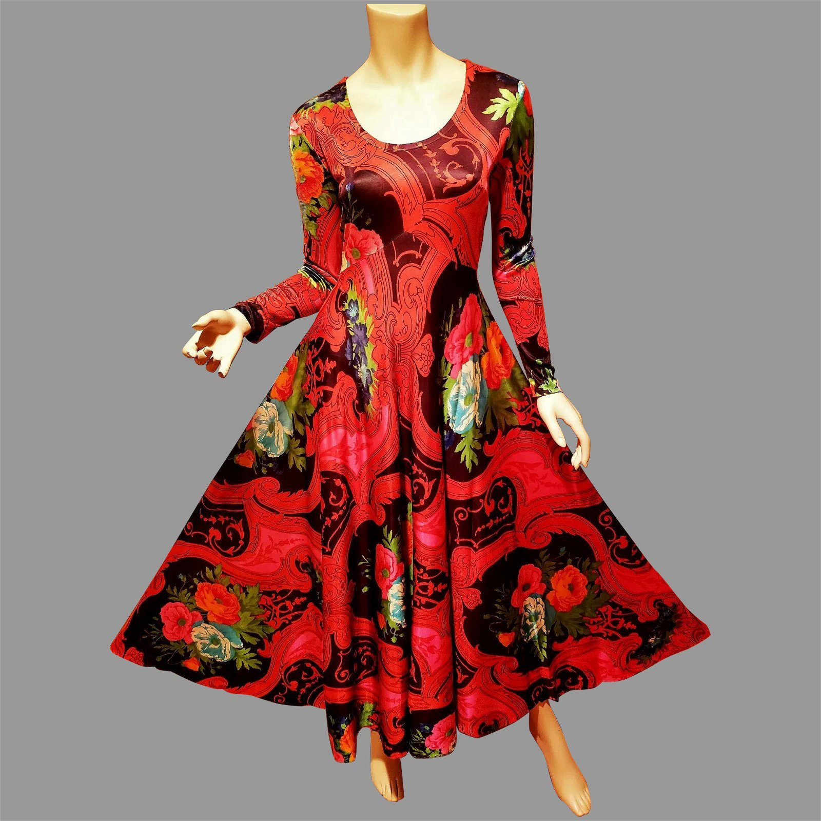 Hobo Chic 1950's multi colored floral printed maxi gown