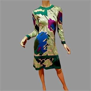 signed 1950's Averado Bessi raw silk knit wiggle dress