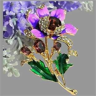 Pendant Brooch gorgeous Flower lilac purple Enamel and