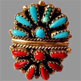 Signed DJ American Indian Zuni Cluster Ring Sterling