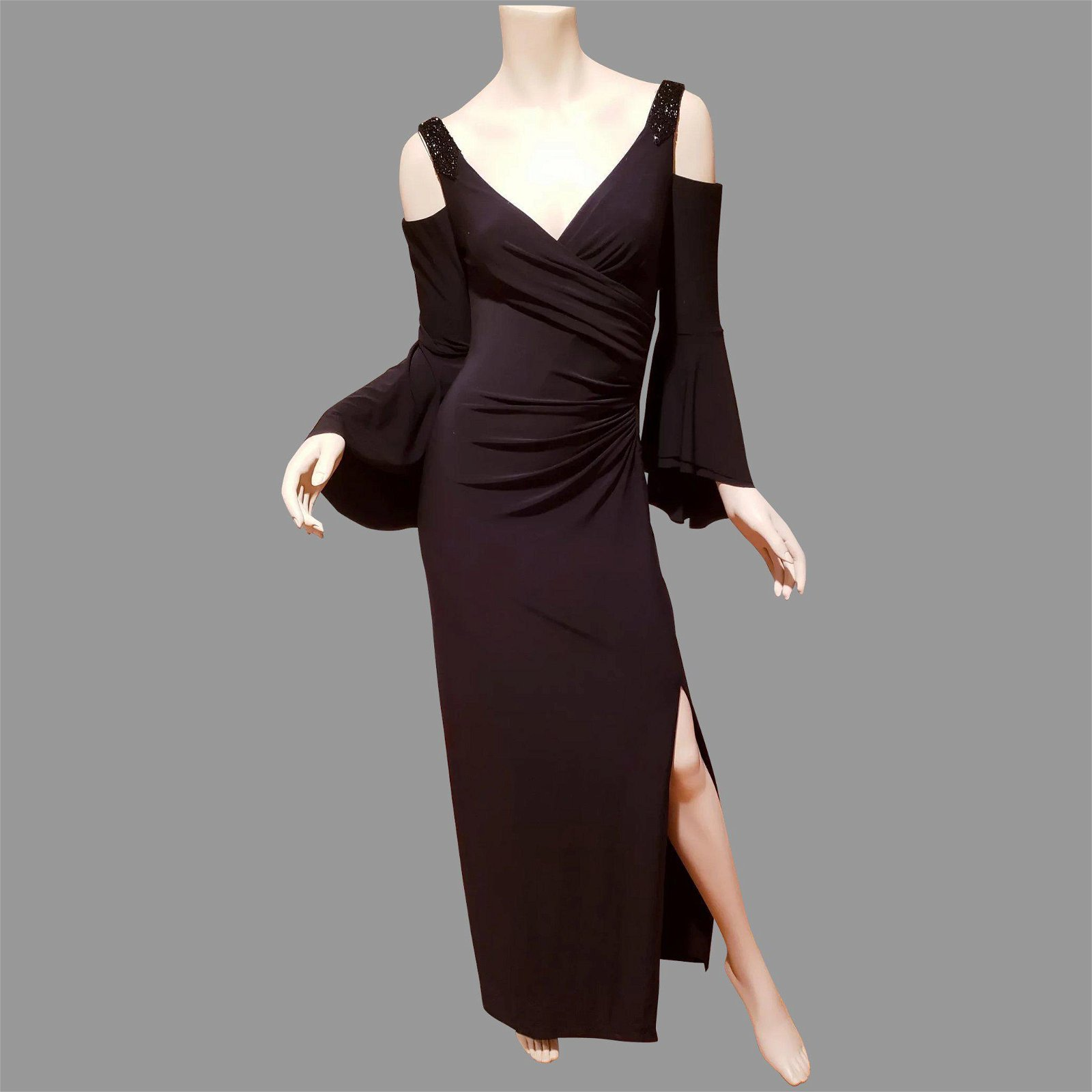 Ralph Lauren 90's cold shoulder high slit maxi gown
