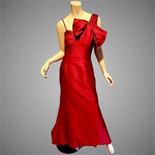 Rose Taft silk Couture Red Asymmetric bow neck formal